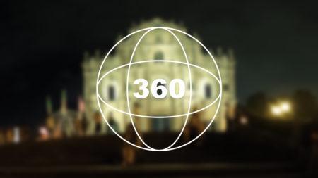360°カメラで見る!マカオの世界遺産「夜の聖ポール天主堂跡(大三巴牌坊/Ruins of St. Paul's)」
