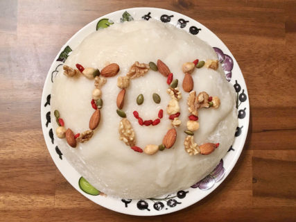 【手作り】ホームベーカリーで一升餅を作ってナッツで飾り付けてみた。